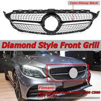 W205 Diamond Grille Diamond Style Car Front Bumper Grille Grill Mesh For Mercedes For Benz C Class W205 C200 C300 C250 2019+