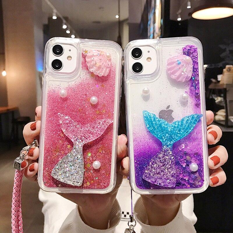 3D Ins Mermaid Glitter Quicksand Case For Iphone 12 11 Pro Max 6 6S 7 8 Plus X XR XS Max Cover Liquid Funda