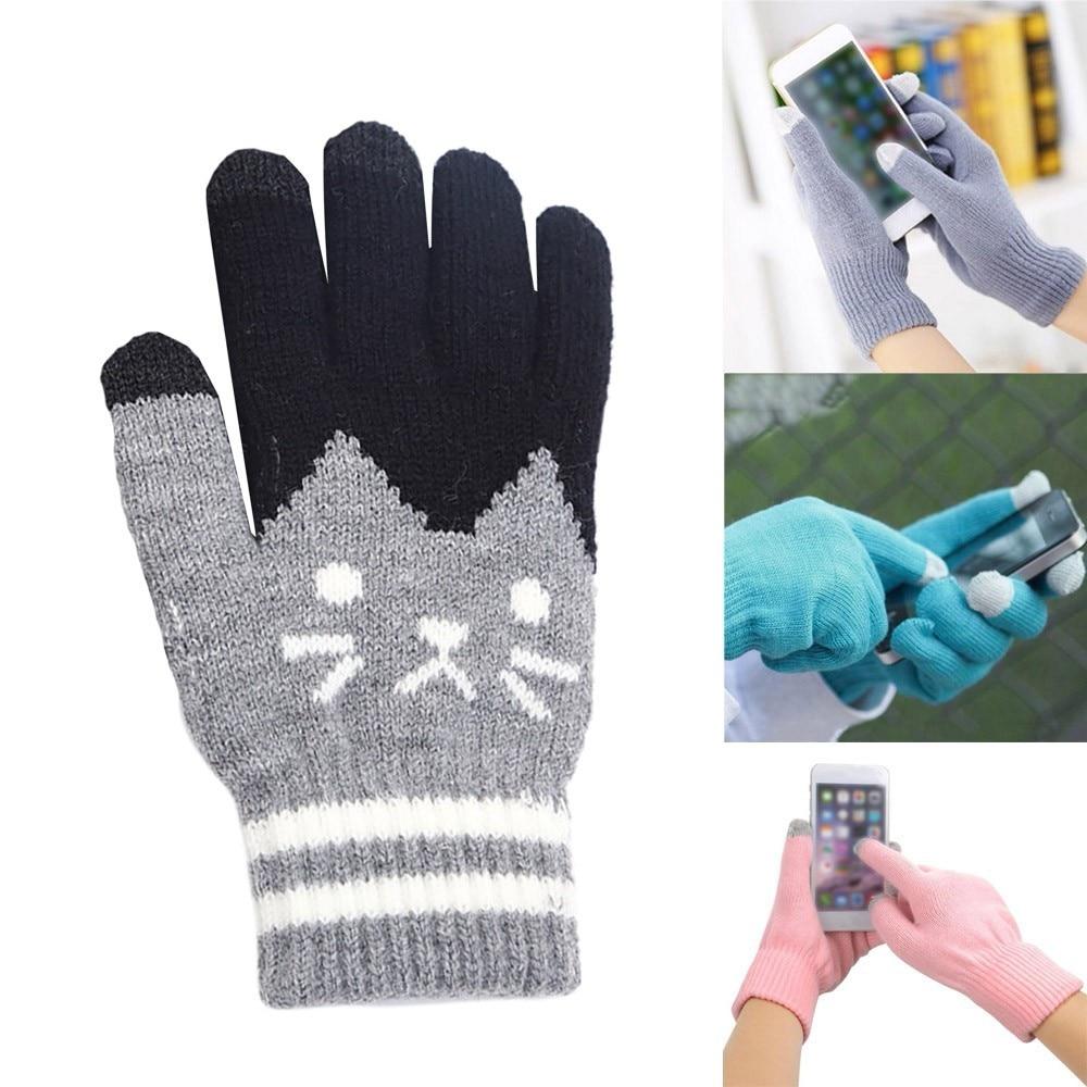 2019 Autumn Winter Touch Screen Gloves Women Girl Cute Cartoon Cat Printed Wool Knitted Full Finger Mittens For Girls Christmas