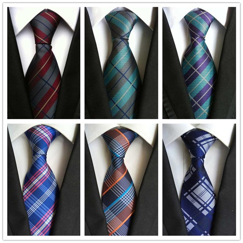 8CM 100% Silk Men's Ties  JACQUARD WOVEN Classic Stripes Plaids Silk Necktie Formal Wedding Party Ties For Men 56 Colors