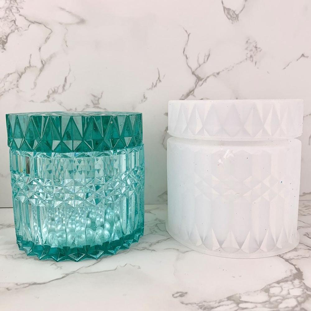 Molde de garrafa de armazenamento de forma redonda de cristal diy para fazer jóias molde de corte epóxi uv caixa de presente ferramentas de jóias moldes