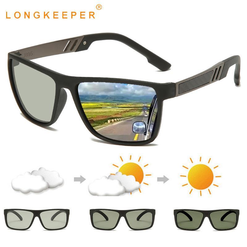 2020 TR90 Polarized Photochromic Sunglasses Men Chameleon Driving Sun Glasses Women Vintage Square Goggles UV400 Gafas