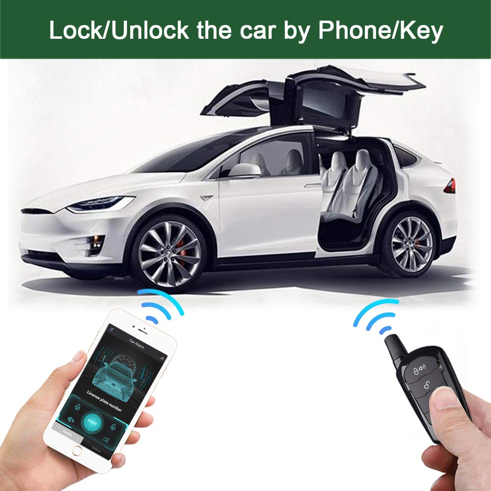 APP PKE Car Alarm System Keyless Entry Remote Start For Car Engine Automatic Trunk Opening Vibration ignition Central Locking