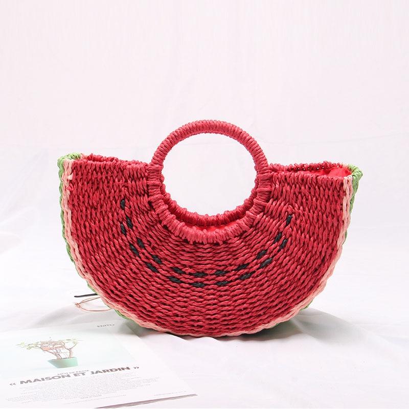 Seaside Vacation Beach Straw Bag Female Portable Cute Watermelon Bag New Fashion Hand-woven Bag