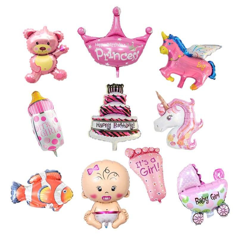 10 шт., детские мини-шары из фольги для душа, вечерние украшения на день рождения, Детские воздушные шары с героями мультфильмов, розовый, сини...