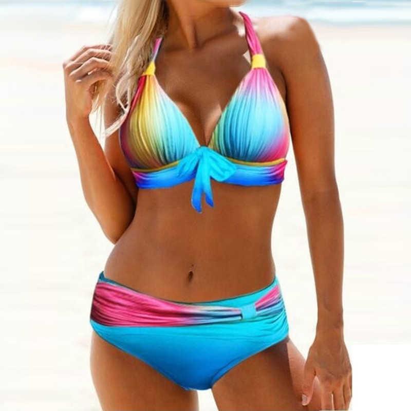 Lookykit Bikinis traje de baño de 2 piezas para mujer traje de baño Halter juego de bikini estilo push up Color de estómago degradado impreso traje de baño ropa de playa
