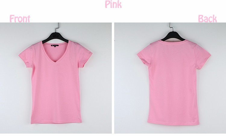 High Quality V-Neck 15 Candy Color Cotton Basic T-shirt Women Plain Simple T Shirt For Women Short Sleeve Female Tops 077 13
