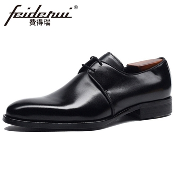 Plus Size 48 Genuine Leather Men's Handmade Wedding Oxfords Square Toe Laces Man Formal Dress Office Derby Shoes For Male BQL202