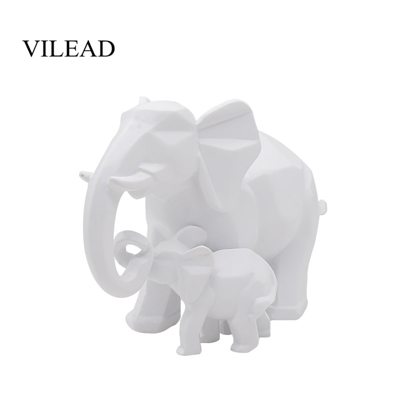 VILEAD 15cm Resin Mother And Son Elephant Figurines Nordic Minimalist Geometry Animal Oranment Porch Living Room Decoration Gift