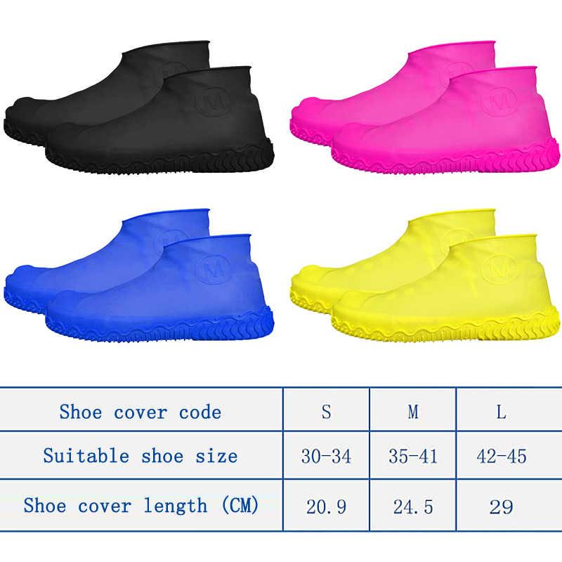 1 par de silicone anti-deslizamento à prova dwaterproof água capa de sapato reutilizável chuva bota da motocicleta bicicleta overshoe para homens mulheres sml sapato cobre