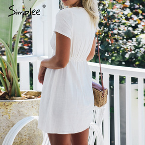 Image 2 - Simplee grande taille femmes robe boutons décontracté taille haute à manches courtes robe dété solide streetwear plage sexy robe de bureau 2020