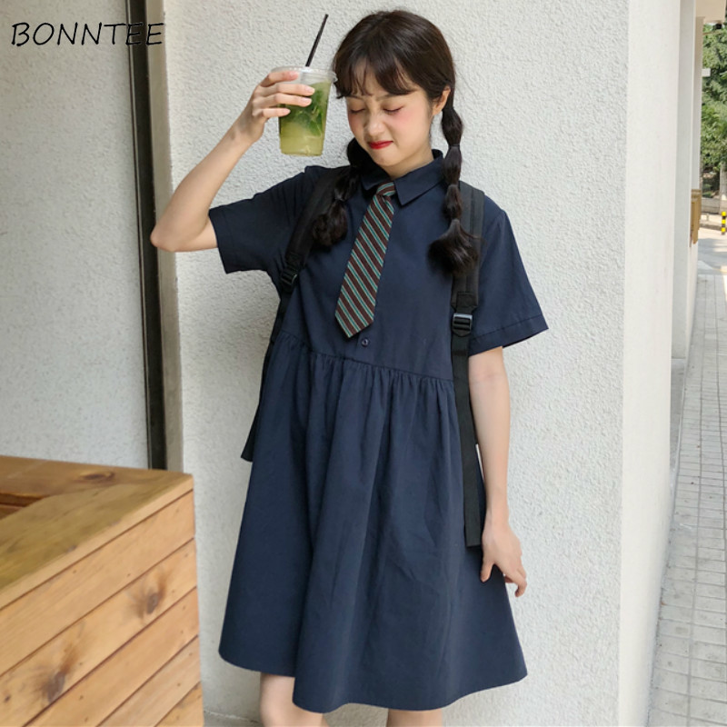Dress Women Harajuku With Tie A-line Draped Maxi Student Loose Summer Popular Streetwear All-match BF Dresses Chic Retro Casual