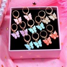 Nieuwe Mode Goud Zilver Kleur Vlinder Drop Oorbellen Voor Vrouwen Leuke Acryl Insect Oorbellen Koreaanse Verklaring Jewelry Gift