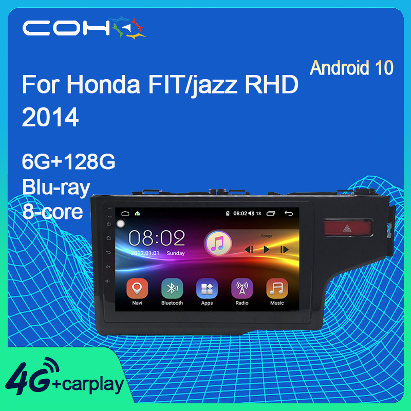 COHO For Honda FIT/jazz RHD 2014 Android 10.0 8-core 6/128G Multimedia Player Stereo Car Radio