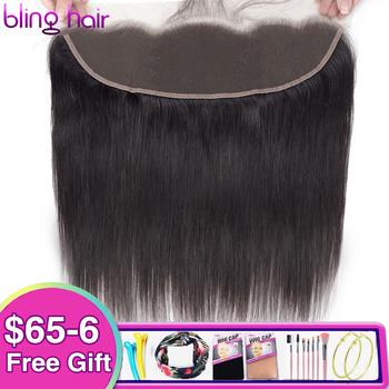 Bling Hair brazylijskie proste włosy ludzkie koronkowe przednie zamknięcie 13 #215 4 środkowe bezpłatne trzy częściowe zamknięcie ucha do ucha Remy Natural Color tanie i dobre opinie Remy włosy CN (pochodzenie) 13 x 4 130 Brazylijski włosy Pół maszyny wykonane i pół ręcznie wiązanej Swiss koronki