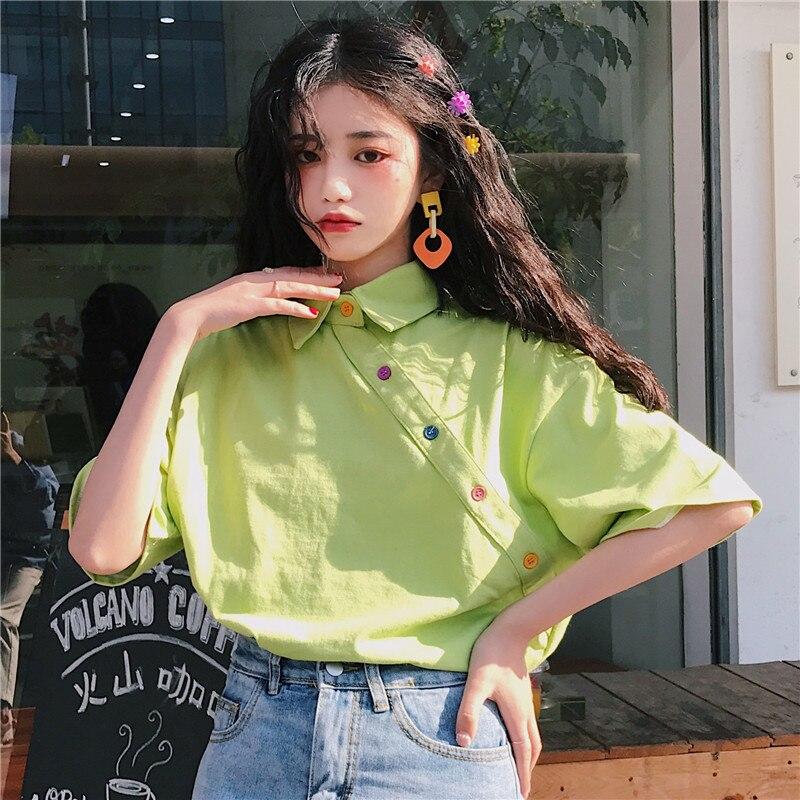 Женская футболка с отложным воротником, свободная винтажная однотонная Универсальная футболка в стиле Харадзюку с коротким рукавом, в Коре...