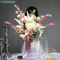 INDIGO Pink Protea Rose Astilbe Chinensis Bouquet Artificial Flower Wedding Bride Hand Bouquet Flower Party Event Free Shipping