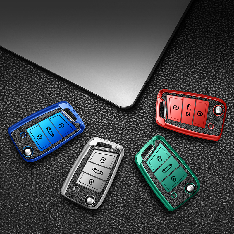 lowest price Key protector Leather TPU Car Key Cover Case For  POLO Tiguan Passat B5 B6 B7 Golf EOS Scirocco Jetta MK6 Octavia Accessories