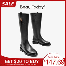 Shoes Long-Boots Metal Genuine-Cow-Leather Women Beautoday Zip for Handmade 01238 Buckle