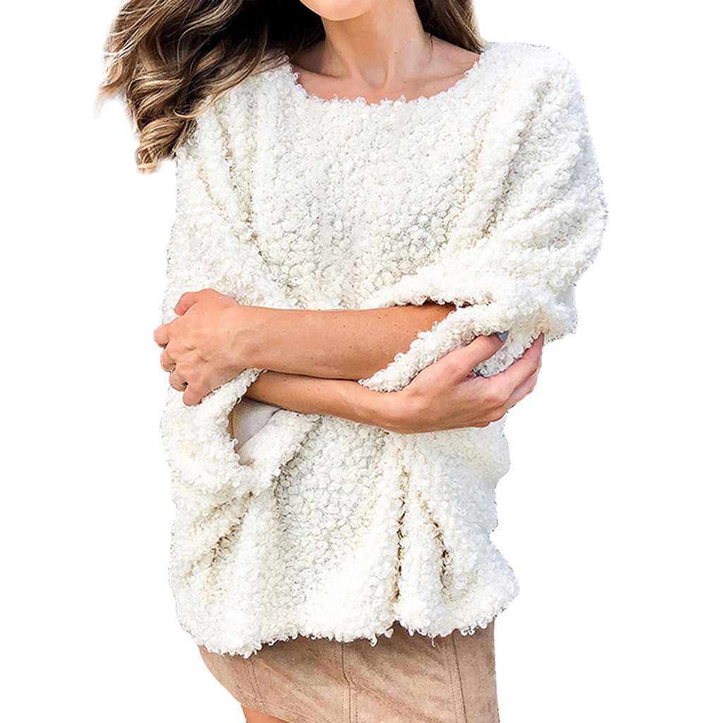 Women's Solid Color Plush Long Sleeve Top Pull Femme Winter Warm Sweater Virgin Killer Sweater Sueter Mujer Invierno 2020 #W