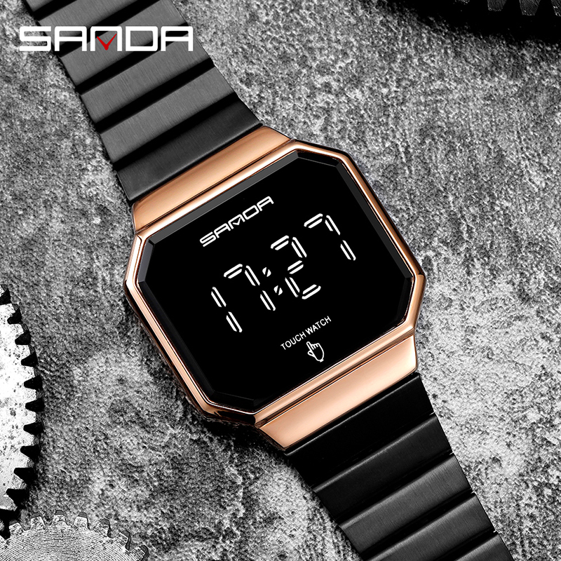 Creative Fashion Clock LED Touch Screen Watches Digital Watch Men Fashion Simple Alloy Band Electronic Wristwatches Reloj Montre 2