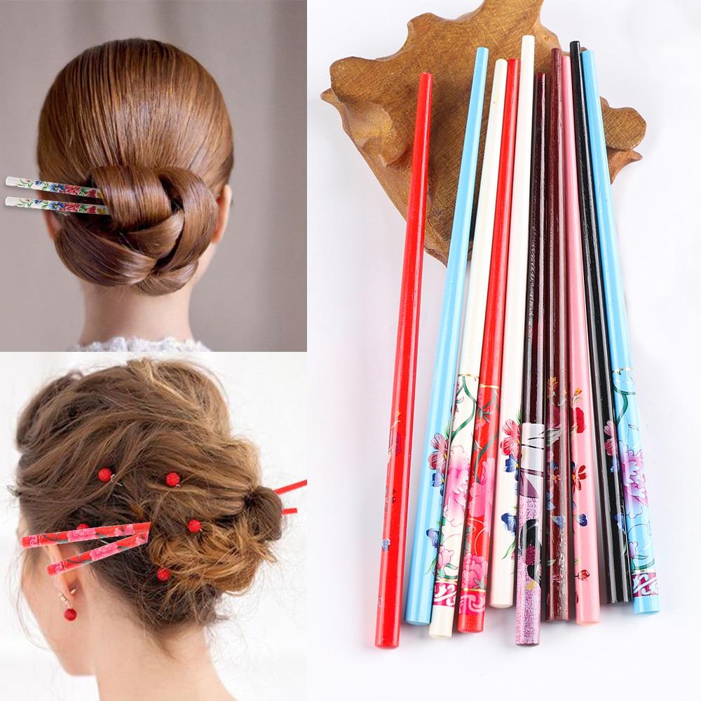 Шпилька для волос ручной работы, 2 шт./компл., винтажная живопись, заколка для волос, красочная натуральная древесина для женщин, искусственн...