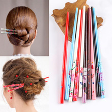 2Pcs/Set Handmade Hair stick Vintage Painting hairpin Colorful Natural wood for women Japanese hairpin Wood Chinese hair stick