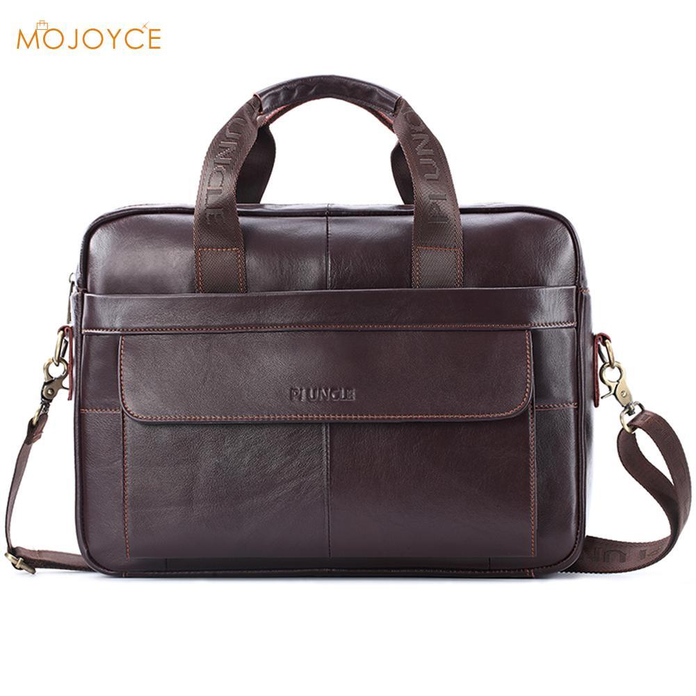 Genuine Leather Briefcases Solid Color Handbag Men's Business Crossbody Bag Office Messenger/Shoulder Bags For Men