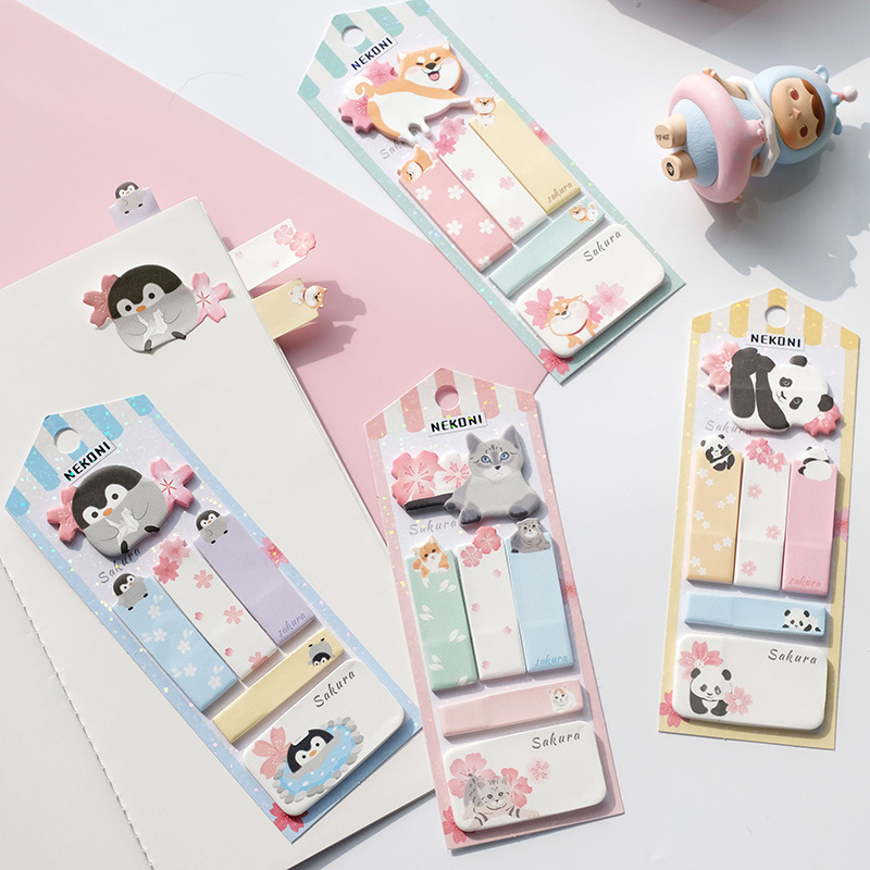 Penguin Happy Shiba Kawaii Cute Nekoni Memo Pad Sticky Notes Memo Notebook Stationery Papelaria Escolar School Supplies
