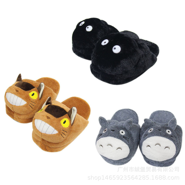 Cute Totoro Cat Cotton Shoes Anime Totoro Fairydust Cartoon Plush Women Slippers Winter Boy Girls Home Indoor Flat Warm Footwear