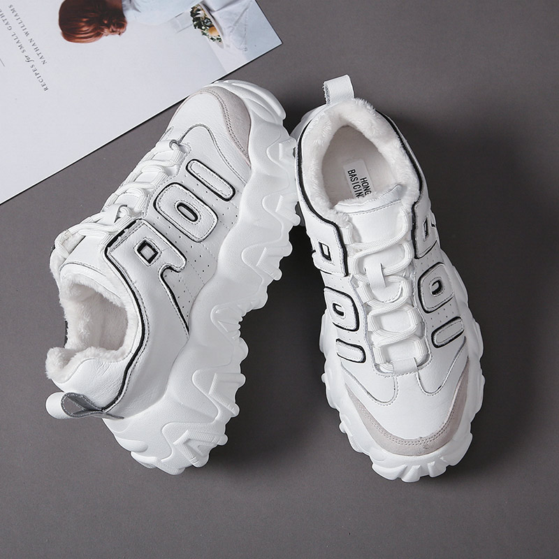 Women Casual Sneakers Winter Plush Fur Warm Shoes Height increasing thick-soled sports shoes Platform Heel 7cm Zapatillas Mujer