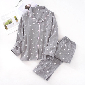 Image 3 - Ilkbahar & sonbahar yeni çiftler pijama konfor gazlı bez pamuk erkekler ve kadınlar pijama yıldız baskılı severler gecelik gevşek gündelik giyim