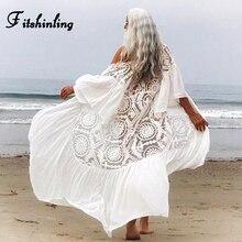 цена на Fitshinling Lace Chiffon Patchwork Beach Cover-Up Swimwear Hollow Out Sexy White Kimono Flare Sleeve White Boho Holiday Cardigan