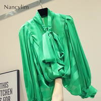 2019 Fall Blusas for Women New Korean Tie up Pure color Shirts Girls Ladies Lantern Sleeve Bow Collar Shirt Blouse Femme Tops