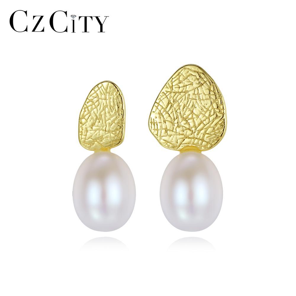CZCITY Pear Shape 925 Sterling Silver Stud Earrings For Women Girls Pearl Fine Jewelry Party CZ Boucle D'Oreille Femme SE0382-1