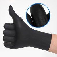 100/50 luvas descartáveis do látex dos pces luvas universais do dedo do trabalho da limpeza do látex protetores de alimentos para a segurança em casa preto|Luvas| |  -