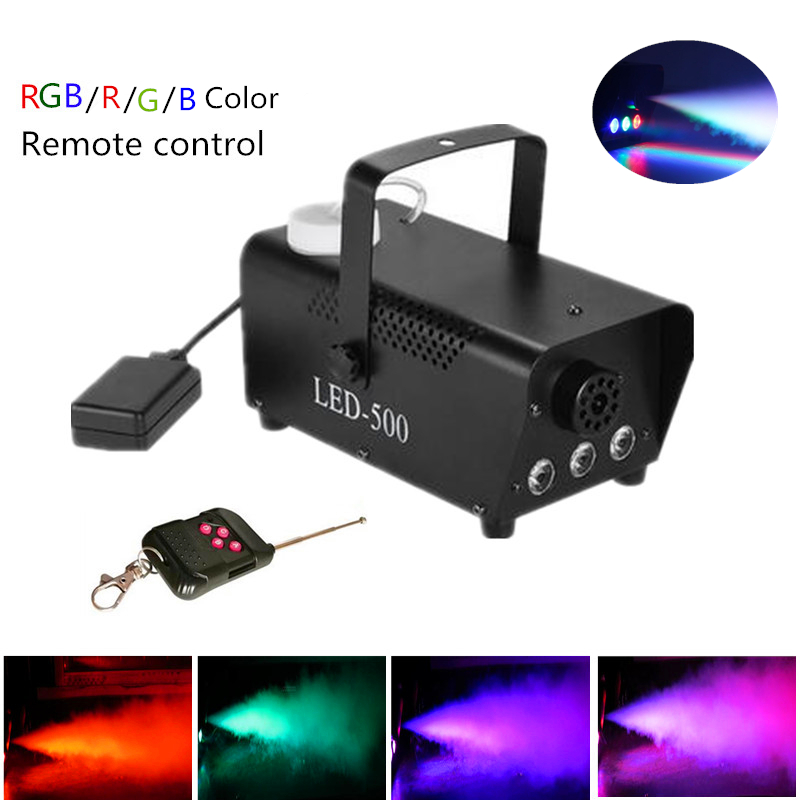 Wireless Remote Control LED Smoke Machine 500W With RGB LED Lights, LED Fog Machine For Party DJ KTV Effect, Stage Smoke Ejector