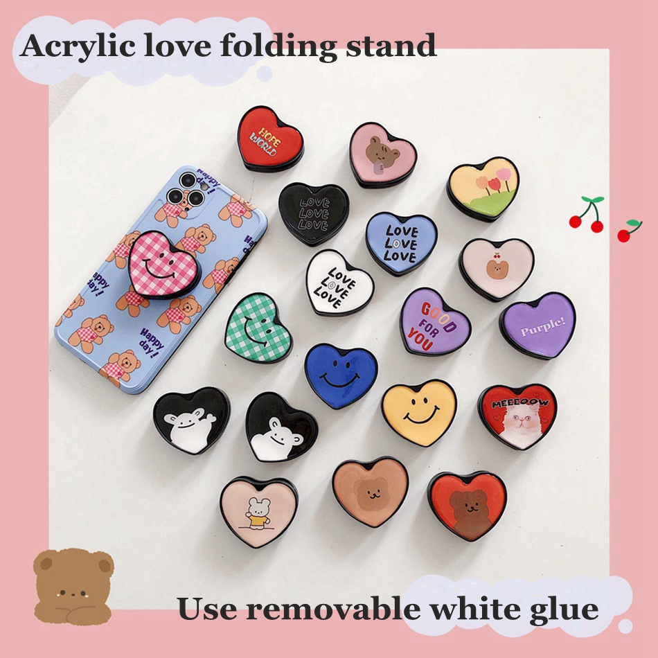 Universal Rotated Folding Stand For IPhone Samsung Huawei Xiaomi OPPO VIVO Cute Cartoon Acrylic Love Removable Bracket Holder