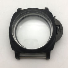47 mm brushed black stainless steel watches case hand winding fit for EAT 6497/6498 movement(China)