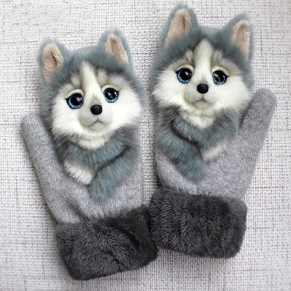 Animal Cat Dog Panda Racoon Design Kid Winter Warm Cute Princess Full Long Fingers Fashion Soft Girl Gloves Mittens C4R3