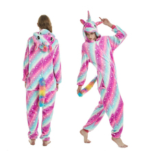 Кигуруми для взрослых Пижама в виде животных единорог пижамы с рисунками из мультфильмов, Для женщин Для мужчин зимние унисекс Фланелевая пижама единорог, одежда для сна