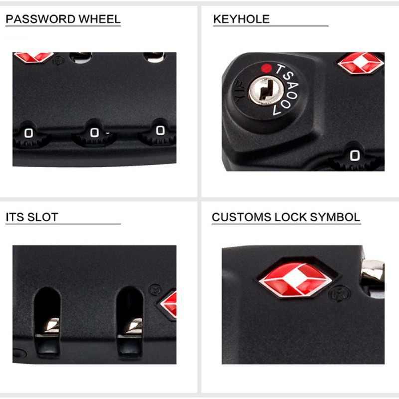 3 kombinacja cyfr resetowalna czarno-biała walizka podróżna bagaż kod bezpieczeństwa kłódka