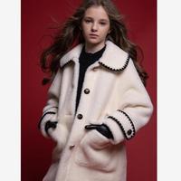 Children Faux fur Coats Girls imitation MInk fur jackets thicker warm Compound suede overcoat Modis Kids Winter jackets Y2504