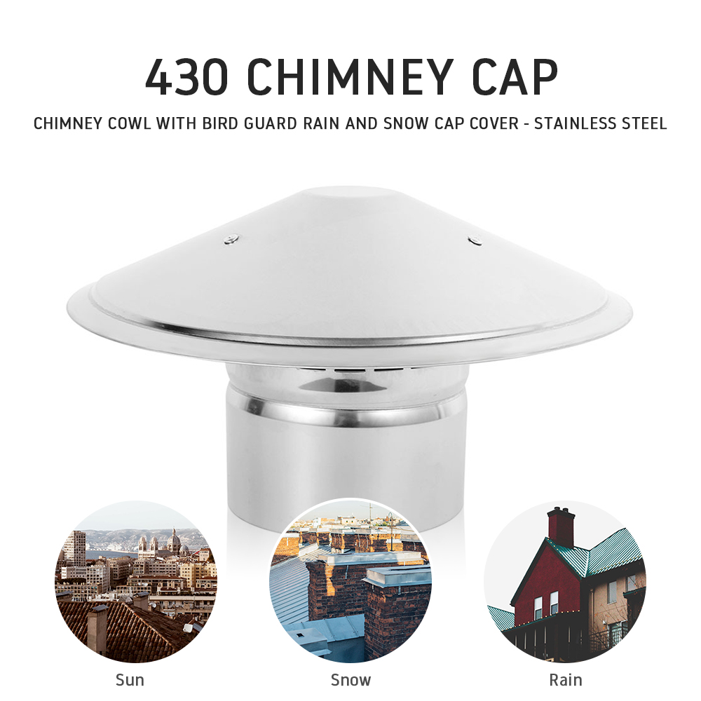 Chimney Cap Mushroom Shaped Weatherproof Cap Stainless steel 430 Roof Hood Chimney Cowl with Bird Guard Rain and Snow Cap Cover