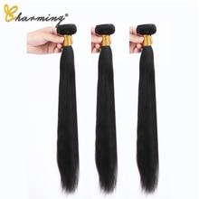 CHARMING Straight Hair Bundles Brazilian Hair Weave Bundles 100% Human Hair Bundles Natural Color Non Remy Hair Weave 3 Piece цены