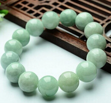 +++ 027 100% Natural A Grade Jade (Aqua jadeite) Carved 13mm Round Bead Bracelet(China)