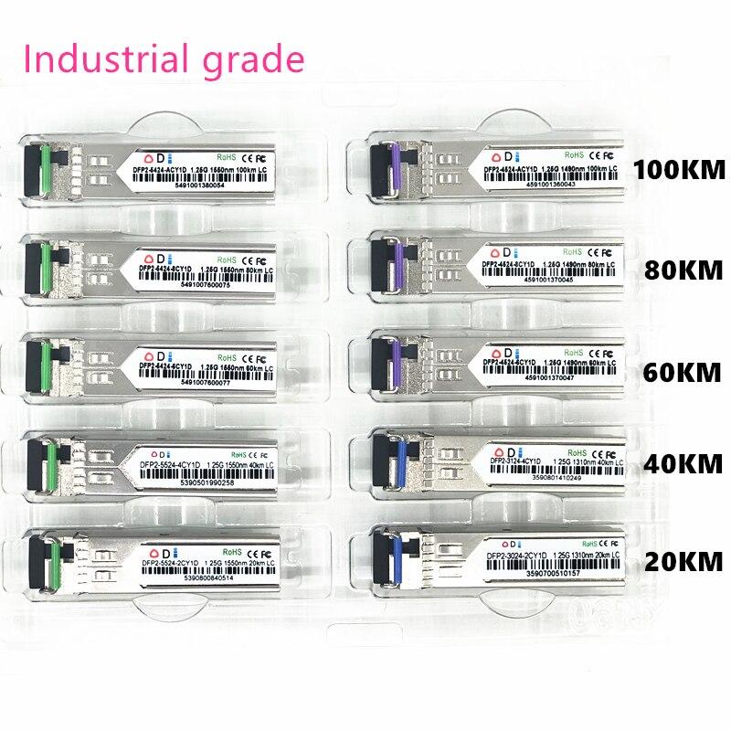 LC SFP Fiber Optic Module Industrial Grade -40~+80 Celsius 1.25G20/40/60/80/100KM 1310/1490/1550nm Compatible Optical Module