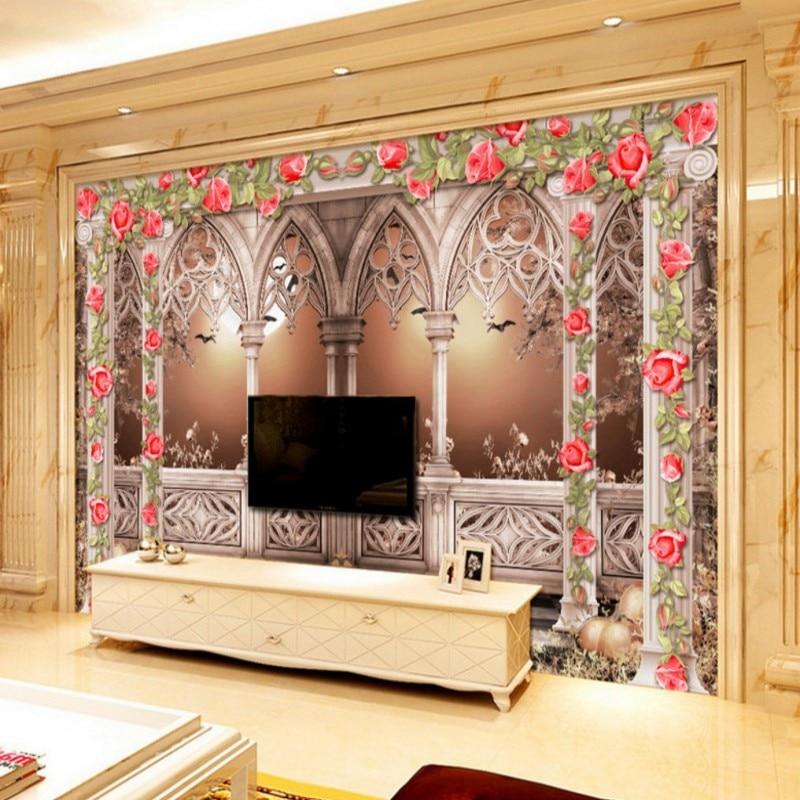 Drop Shipping Wallpaper 3d European Romantic Garden Arches Courtyard 3D Stereo TV Backdrop Mural   Restaurant Hotel Wallpaper