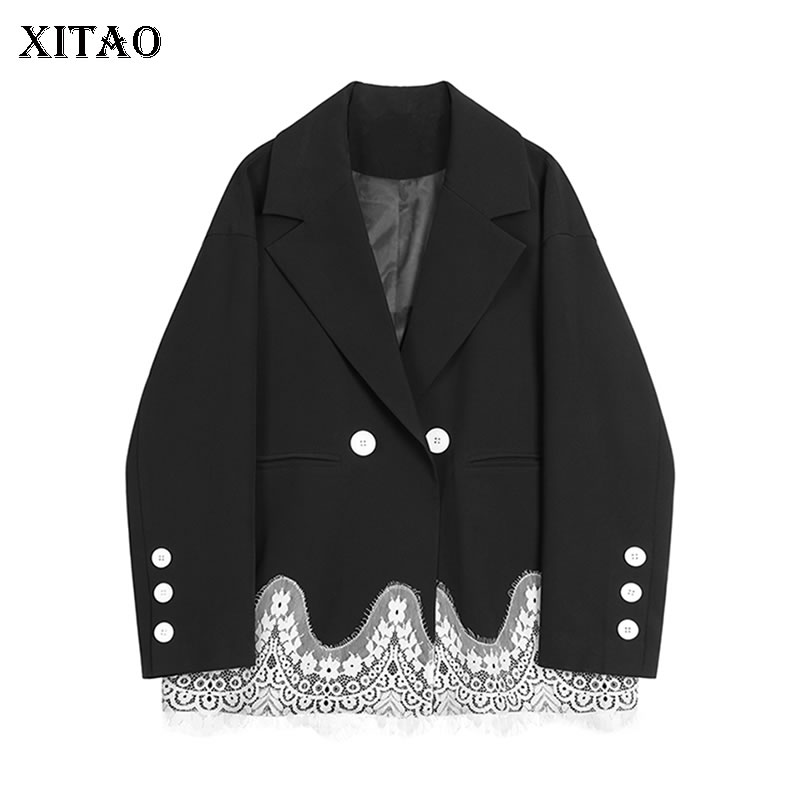 XITAO Lace Vintage Blazers Women Fashion New 2019 Winter Patchwork Double Breast Elegant Small Fresh Casual Coat Top DMY1910