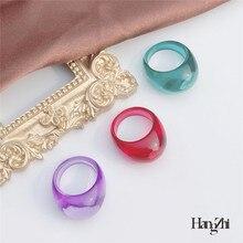 Hangzhi 2020 novo coreano na moda geométrica redonda irregular roxo acrílico resina transparente anel para mulheres verão quente jóias presente